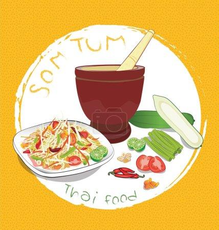 Illustration for Papaya salad and ingredients on Orange background - Royalty Free Image