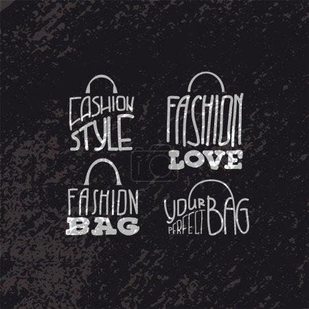 Illustration pour Sacs de mode avec des citations de mode sur eux. Affiche de typographie. Vecteur - image libre de droit