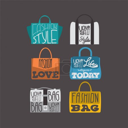 Fashion bags set with fashion quotes on them