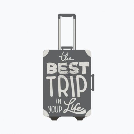 Illustration for Travelling bag-the best trip in your life .Typography poster. Vector - Royalty Free Image