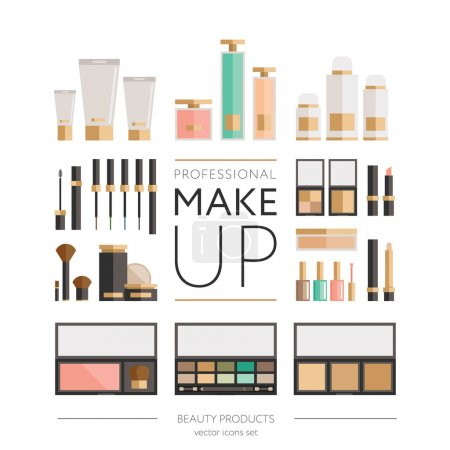 Beauty products collection - flat set