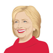 USA - JULY 30: vector illustration of a portrait of Hillary Clinton