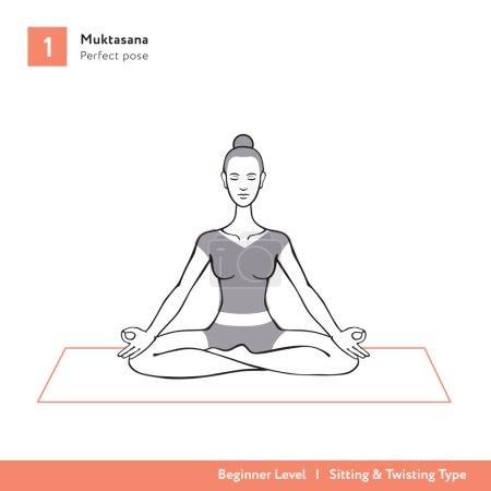 Illustration for Yoga asana Muktasana - beginner level - Royalty Free Image