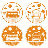 retro bus with surfboard vector labels set