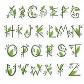 illustration of  hand draw  font in the form of branches and le