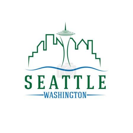seattle skyline vector design template