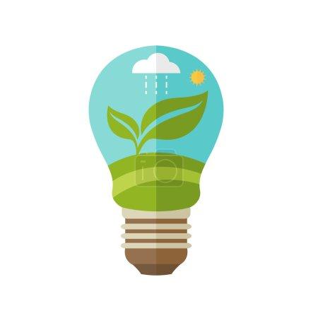 Illustration pour Illustrations concept de lampe avec des icônes de l'écologie, de l'environnement, de l'énergie verte. Vecteur - image libre de droit