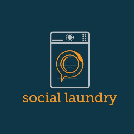 social laundry concept with washing machine