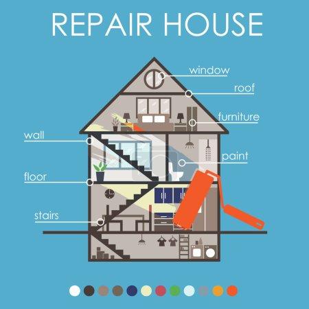 Illustration pour Infographie de rénovation de la maison.Vector - image libre de droit