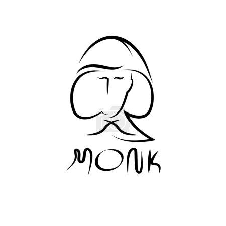 Monk face outline illustration
