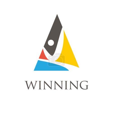 Winning man symbols. Vector
