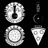 Grunge urban style pizza vector labels and elements set
