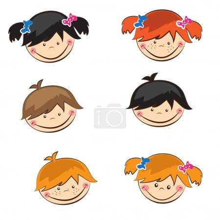 Set of cute boys and girls sticers