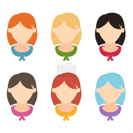 Set flat design girls hairstyles.Vector