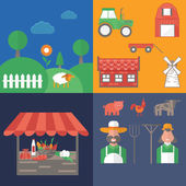 Flat design vector illustration on farm theme