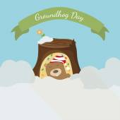 Greeting card to groundhog day Beginning spring Vector