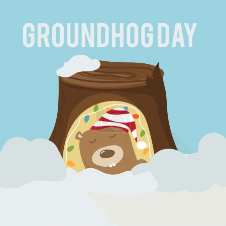 Greeting card to groundhog day. Beginning spring. Vector