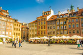 Warsaw, Poland - September 18, 2015. Old town marketplace square and colorful houses.