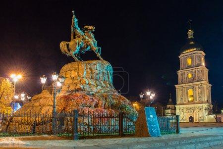 Monument to hetman of Ukraine Bogdan Khmelnitsky and Saint Sophia Cathedral on Sofia square in Kiev at night.