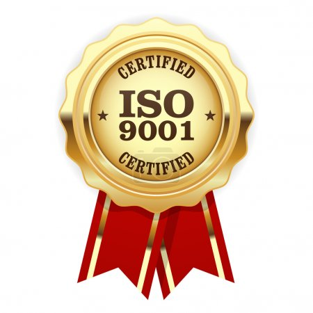 Illustration for ISO 9001 certified - quality standard golden seal - Royalty Free Image