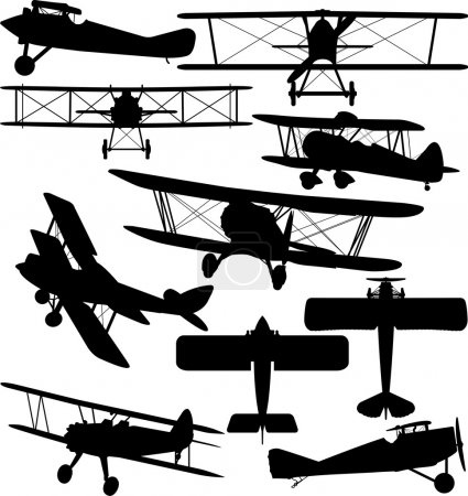 Illustration for Silhouettes of old aeroplane - contours of biplanes - Royalty Free Image