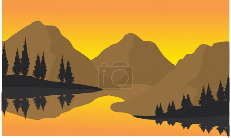 Silhouette of three moountain