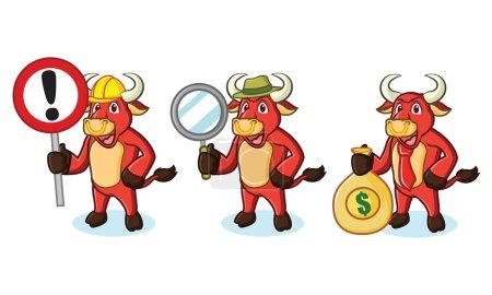 Bull Red Mascot with money