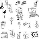 Object school in doodle vector art on white backgr...