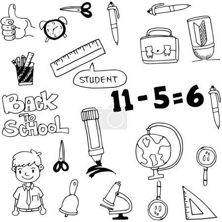 Vector art back to school doodles on white backgro...