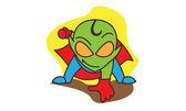 Green alien super hero
