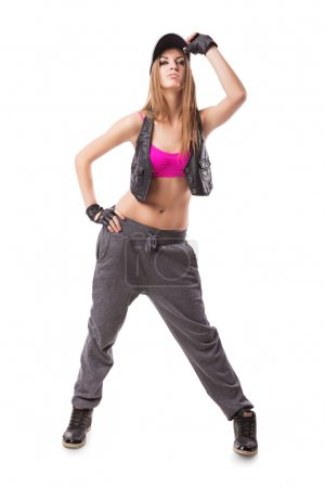 Photo for Hip-hop go-go dance girl on white - Royalty Free Image