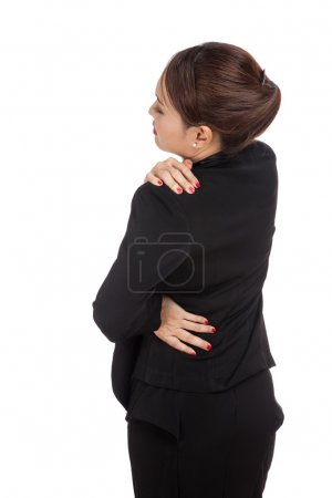 Photo for Young Asian business woman got back pain  isolated on white background - Royalty Free Image