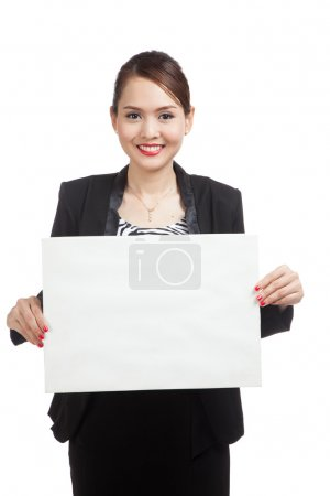 Young Asian business woman with  white blank sign
