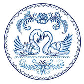 Decorative plate in Gzhel style - swans