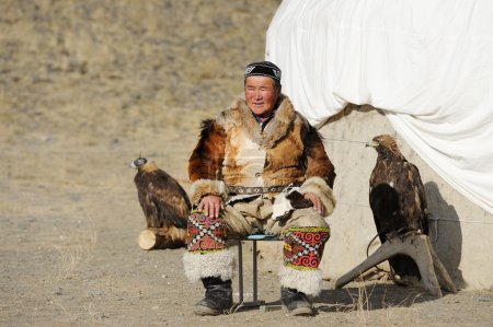 Kosh-Agach,Russia - September 21, 2014: the hunter with an eagle