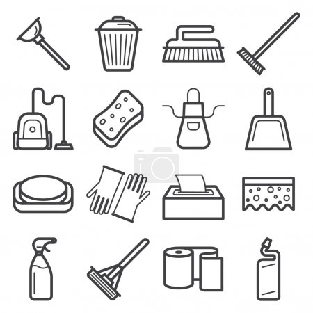 Set of icons of home cleaning tools.