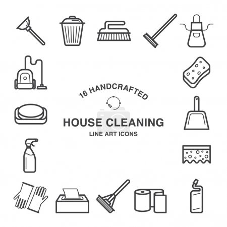 House cleaning icons made in line art style.