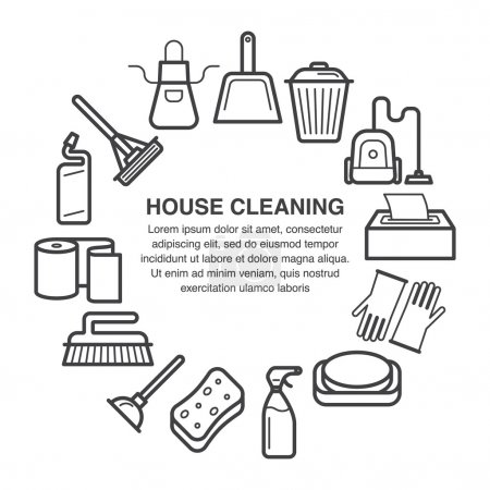 House cleaning circle composition made in line art style.