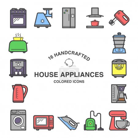 Illustration for Set of 16 house appliances icons made in flat style. - Royalty Free Image