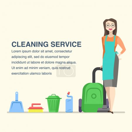 Cleaning service banner with cartoon woman character