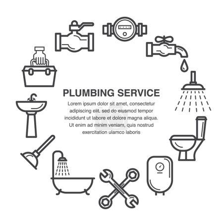 Illustration pour Icônes d'art de ligne ensemble pour la publicité de service de plomberie ou la conception de bannière . - image libre de droit