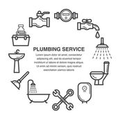 Line art icons set for plumbing service advertisement or banner design
