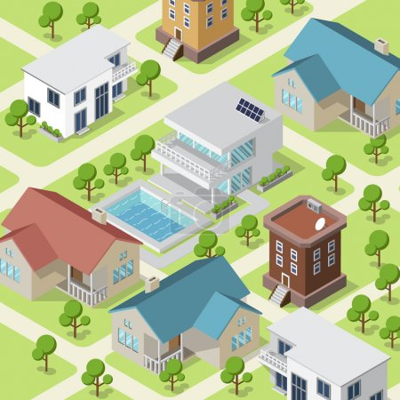 Isometric illustration of small town or village with modern houses and trees on streets.