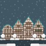 Winter city, german town vector design template. W...