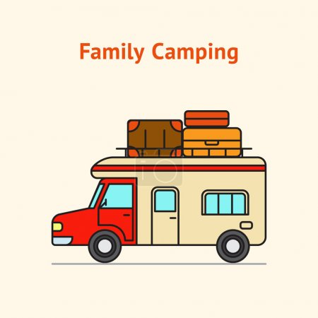 Family Camping Truck with suit cases and bags Illustration