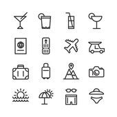 Cestování a cestovní ruch sada ikon
