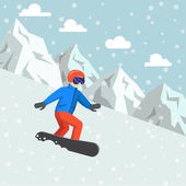 Snowboarder on the board ride in the mountains