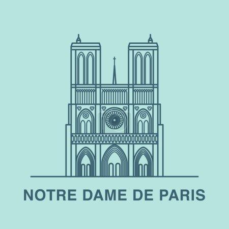 Line art illustration of Notre Dame cathedral.