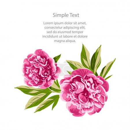Illustration for Awesome Peony Flowers Illustration! You can use it for card, invitation, wedding invitation or gifts card. - Royalty Free Image