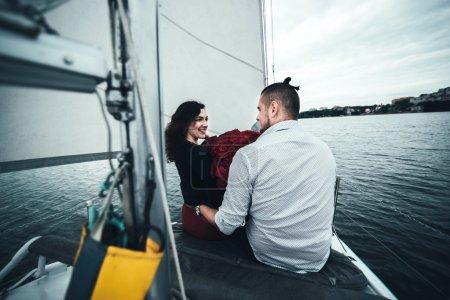 Pretty couple on yacht